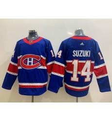 Men Montreal Canadiens 14 Nick Suzuki Blue 2020 21 Reverse Retro Adidas Jersey
