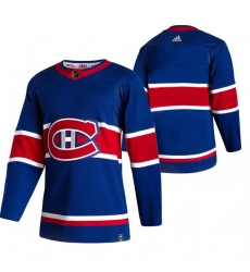 Men Montreal Canadiens Blank Blue Adidas 2020 21 Reverse Retro Alternate NHL Jersey