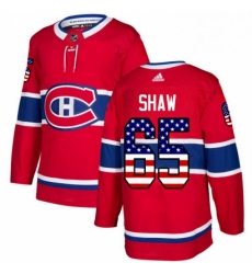Mens Adidas Montreal Canadiens 65 Andrew Shaw Authentic Red USA Flag Fashion NHL Jersey