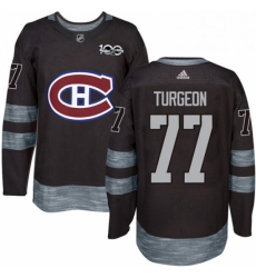 Mens Adidas Montreal Canadiens 77 Pierre Turgeon Authentic Black 1917 2017 100th Anniversary NHL Jersey