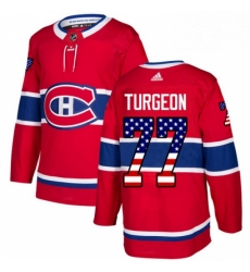 Mens Adidas Montreal Canadiens 77 Pierre Turgeon Authentic Red USA Flag Fashion NHL Jersey