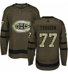 Mens Adidas Montreal Canadiens 77 Pierre Turgeon Premier Green Salute to Service NHL Jersey