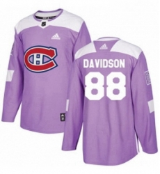 Mens Adidas Montreal Canadiens 88 Brandon Davidson Authentic Purple Fights Cancer Practice NHL Jersey