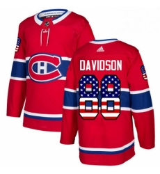 Mens Adidas Montreal Canadiens 88 Brandon Davidson Authentic Red USA Flag Fashion NHL Jersey
