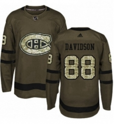 Mens Adidas Montreal Canadiens 88 Brandon Davidson Premier Green Salute to Service NHL Jersey
