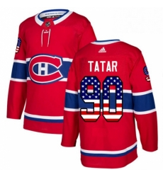 Mens Adidas Montreal Canadiens 90 Tomas Tatar Authentic Red USA Flag Fashion NHL Jersey