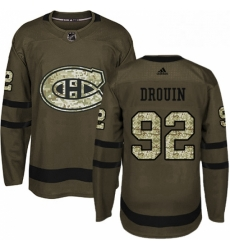 Mens Adidas Montreal Canadiens 92 Jonathan Drouin Authentic Green Salute to Service NHL Jersey