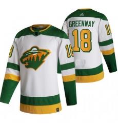 Men Minnesota Wild 18 Jordan Greenway White Adidas 2020 21 Reverse Retro Alternate NHL Jersey