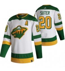 Men Minnesota Wild 20 Ryan Suter White Adidas 2020 21 Reverse Retro Alternate NHL Jersey