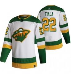 Men Minnesota Wild 22 Kevin Fiala White Adidas 2020 21 Reverse Retro Alternate NHL Jersey