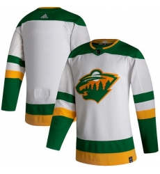 Men Minnesota Wild Blank White 2020 21 Reverse Retro Adidas Jersey