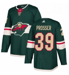 Mens Adidas Minnesota Wild 39 Nate Prosser Authentic Green Home NHL Jersey