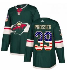 Mens Adidas Minnesota Wild 39 Nate Prosser Authentic Green USA Flag Fashion NHL Jersey