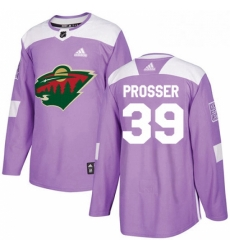 Mens Adidas Minnesota Wild 39 Nate Prosser Authentic Purple Fights Cancer Practice NHL Jersey