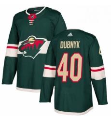 Mens Adidas Minnesota Wild 40 Devan Dubnyk Authentic Green Home NHL Jersey