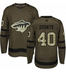 Mens Adidas Minnesota Wild 40 Devan Dubnyk Authentic Green Salute to Service NHL Jersey
