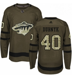 Mens Adidas Minnesota Wild 40 Devan Dubnyk Premier Green Salute to Service NHL Jersey