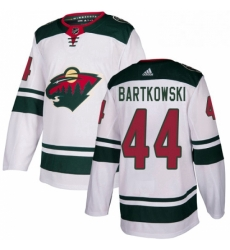 Mens Adidas Minnesota Wild 44 Matt Bartkowski Authentic White Away NHL Jersey