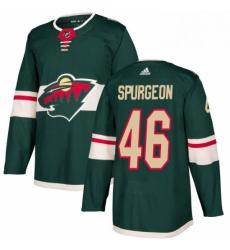 Mens Adidas Minnesota Wild 46 JaGreen Spurgeon Premier Green Home NHL Jersey
