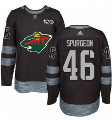 Mens Adidas Minnesota Wild 46 Jared Spurgeon Authentic Black 1917 2017 100th Anniversary NHL Jersey