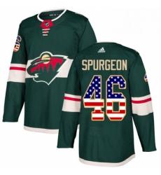 Mens Adidas Minnesota Wild 46 Jared Spurgeon Authentic Green USA Flag Fashion NHL Jersey