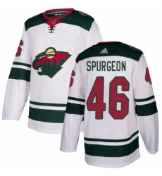 Mens Adidas Minnesota Wild 46 Jared Spurgeon White Road Authentic Stitched NHL Jersey