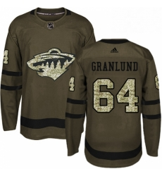 Mens Adidas Minnesota Wild 64 Mikael Granlund Authentic Green Salute to Service NHL Jersey