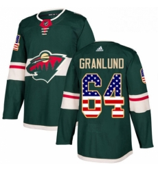 Mens Adidas Minnesota Wild 64 Mikael Granlund Authentic Green USA Flag Fashion NHL Jersey
