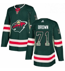 Mens Adidas Minnesota Wild 71 J T Brown Authentic Green Drift Fashion NHL Jerse