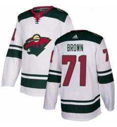 Mens Adidas Minnesota Wild 71 J T Brown Authentic White Away NHL Jerse