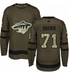Mens Adidas Minnesota Wild 71 J T Brown Premier Green Salute to Service NHL Jerse