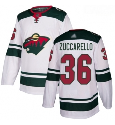 Wild #36 Mats Zuccarello White Road Authentic Stitched Hockey Jersey