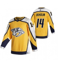 Men Nashville Predators 14 Mattias Ekholm Yellow Adidas 2020 21 Reverse Retro Alternate NHL Jersey