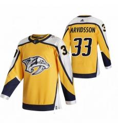 Men Nashville Predators 33 Viktor Arvidsson Yellow Adidas 2020 21 Reverse Retro Alternate NHL Jersey