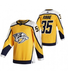 Men Nashville Predators 35 Pekka Rinne Yellow Adidas 2020 21 Reverse Retro Alternate NHL Jersey
