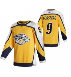 Men Nashville Predators 9 Filip Forsberg Yellow Adidas 2020 21 Reverse Retro Alternate NHL Jersey