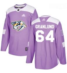 Predators #64 Mikael Granlund Purple Authentic Fights Cancer Stitched Hockey Jersey