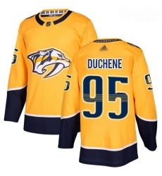 Predators #95 Matt Duchene Yellow Home Authentic Stitched Hockey Jersey
