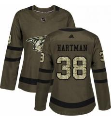 Womens Adidas Nashville Predators 38 Ryan Hartman Authentic Green Salute to Service NHL Jersey