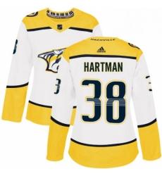 Womens Adidas Nashville Predators 38 Ryan Hartman Authentic White Away NHL Jersey