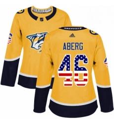 Womens Adidas Nashville Predators 46 Pontus Aberg Authentic Gold USA Flag Fashion NHL Jersey