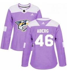 Womens Adidas Nashville Predators 46 Pontus Aberg Authentic Purple Fights Cancer Practice NHL Jersey