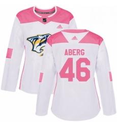 Womens Adidas Nashville Predators 46 Pontus Aberg Authentic WhitePink Fashion NHL Jersey