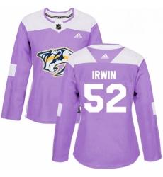 Womens Adidas Nashville Predators 52 Matt Irwin Authentic Purple Fights Cancer Practice NHL Jersey