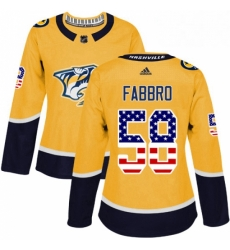 Womens Adidas Nashville Predators 58 Dante Fabbro Authentic Gold USA Flag Fashion NHL Jersey