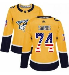 Womens Adidas Nashville Predators 74 Juuse Saros Authentic Gold USA Flag Fashion NHL Jersey