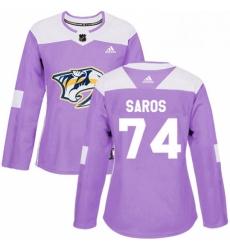 Womens Adidas Nashville Predators 74 Juuse Saros Authentic Purple Fights Cancer Practice NHL Jersey