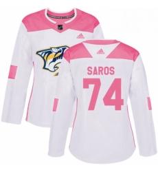 Womens Adidas Nashville Predators 74 Juuse Saros Authentic WhitePink Fashion NHL Jersey
