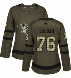 Womens Adidas Nashville Predators 76 PK Subban Authentic Green Salute to Service NHL Jersey