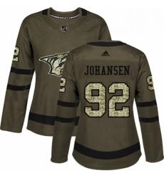 Womens Adidas Nashville Predators 92 Ryan Johansen Authentic Green Salute to Service NHL Jersey